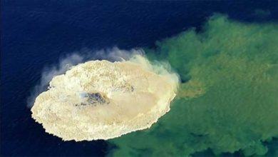 لحظه عجیب خلقت یک جزیره در اقیانوس آرام